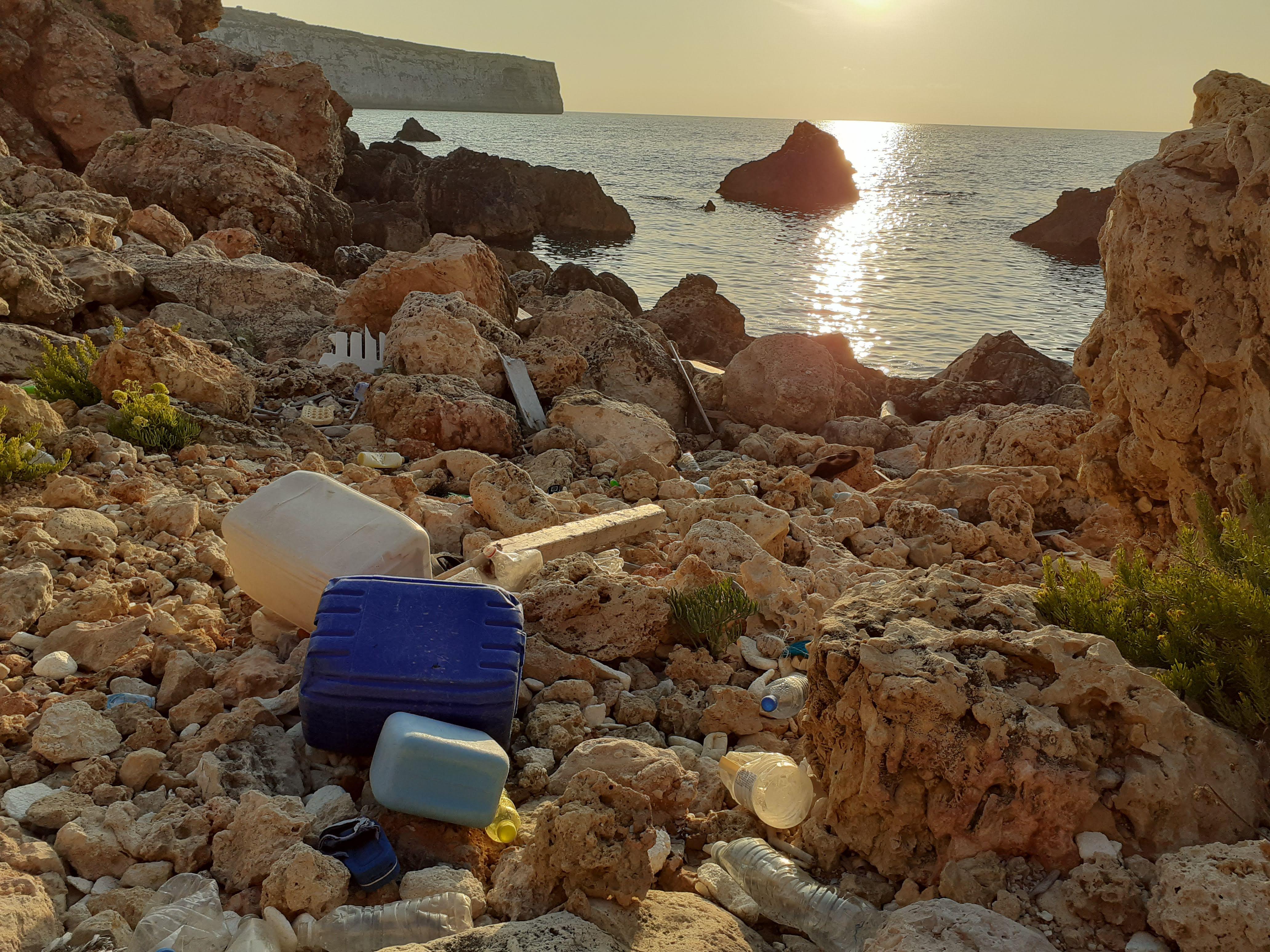 Trash in Fomm Ir-Rih Bay, Malta, 2019.