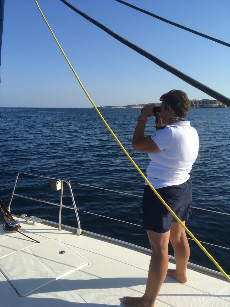 Patrizia Patti spotting dolphins ahead
